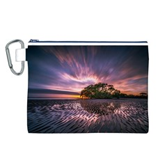 Landscape Reflection Waves Ripples Canvas Cosmetic Bag (l)