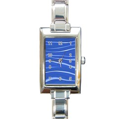 Lines Swinging Texture  Blue Background Rectangle Italian Charm Watch