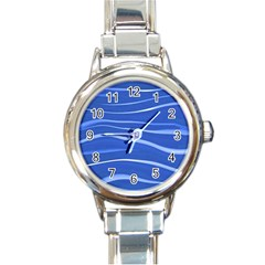 Lines Swinging Texture  Blue Background Round Italian Charm Watch