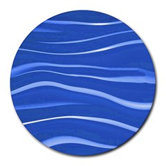 Lines Swinging Texture  Blue Background Round Mousepads