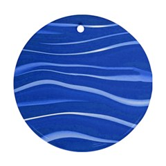 Lines Swinging Texture  Blue Background Ornament (round)