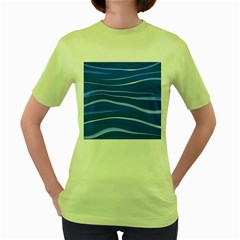 Lines Swinging Texture  Blue Background Women s Green T-Shirt