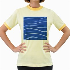 Lines Swinging Texture  Blue Background Women s Fitted Ringer T Shirts