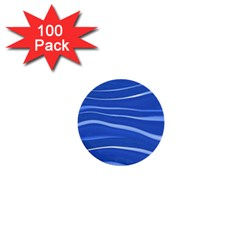 Lines Swinging Texture  Blue Background 1  Mini Buttons (100 Pack)