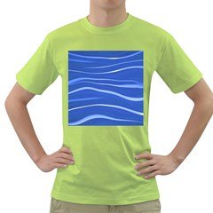 Lines Swinging Texture  Blue Background Green T-Shirt