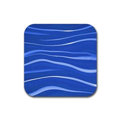 Lines Swinging Texture  Blue Background Rubber Coaster (Square)