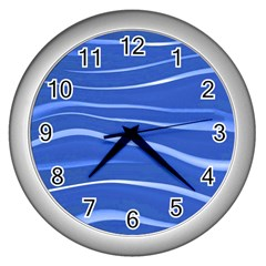 Lines Swinging Texture  Blue Background Wall Clocks (silver)