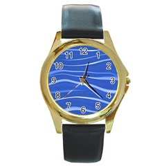 Lines Swinging Texture  Blue Background Round Gold Metal Watch