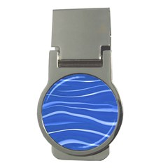 Lines Swinging Texture  Blue Background Money Clips (round)