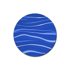 Lines Swinging Texture  Blue Background Rubber Coaster (round)