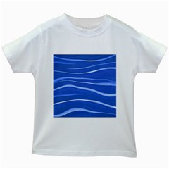 Lines Swinging Texture  Blue Background Kids White T Shirts