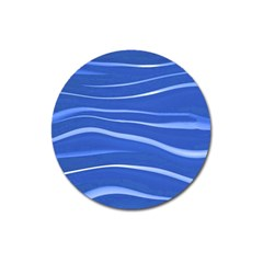 Lines Swinging Texture  Blue Background Magnet 3  (round)