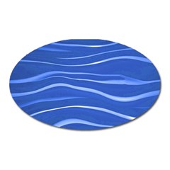 Lines Swinging Texture  Blue Background Oval Magnet