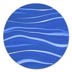 Lines Swinging Texture  Blue Background Magnet 5  (round)