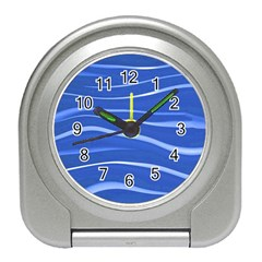 Lines Swinging Texture  Blue Background Travel Alarm Clocks