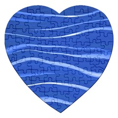 Lines Swinging Texture  Blue Background Jigsaw Puzzle (Heart)