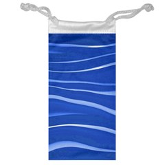 Lines Swinging Texture  Blue Background Jewelry Bag