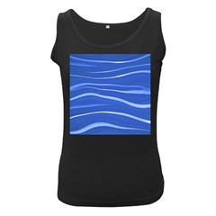 Lines Swinging Texture  Blue Background Women s Black Tank Top