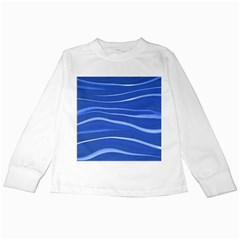 Lines Swinging Texture  Blue Background Kids Long Sleeve T Shirts