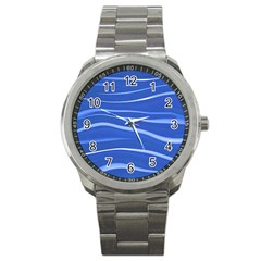 Lines Swinging Texture  Blue Background Sport Metal Watch