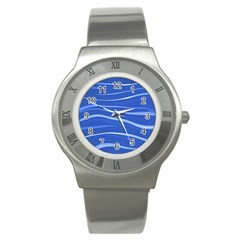 Lines Swinging Texture  Blue Background Stainless Steel Watch