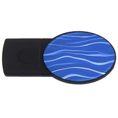 Lines Swinging Texture  Blue Background Usb Flash Drive Oval (4 Gb)