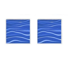 Lines Swinging Texture  Blue Background Cufflinks (square)