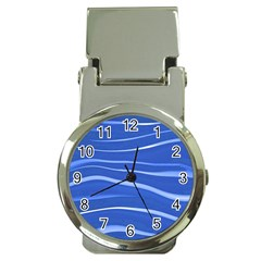 Lines Swinging Texture  Blue Background Money Clip Watches