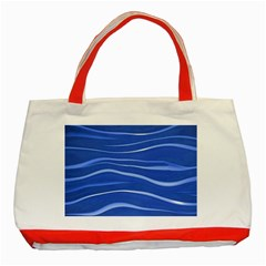 Lines Swinging Texture  Blue Background Classic Tote Bag (red)