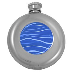 Lines Swinging Texture  Blue Background Round Hip Flask (5 Oz)