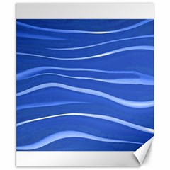 Lines Swinging Texture  Blue Background Canvas 8  X 10
