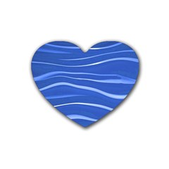 Lines Swinging Texture  Blue Background Heart Coaster (4 Pack)