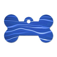 Lines Swinging Texture  Blue Background Dog Tag Bone (Two Sides)