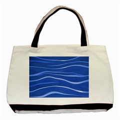 Lines Swinging Texture  Blue Background Basic Tote Bag (Two Sides)