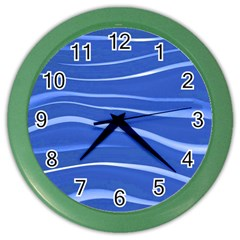 Lines Swinging Texture  Blue Background Color Wall Clocks