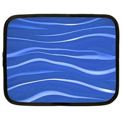 Lines Swinging Texture  Blue Background Netbook Case (large)