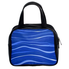 Lines Swinging Texture  Blue Background Classic Handbags (2 Sides)