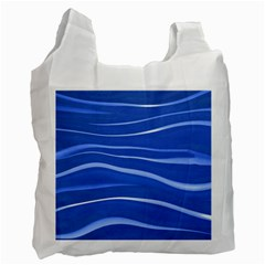 Lines Swinging Texture  Blue Background Recycle Bag (two Side)