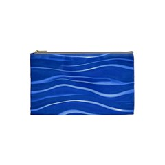 Lines Swinging Texture  Blue Background Cosmetic Bag (small)