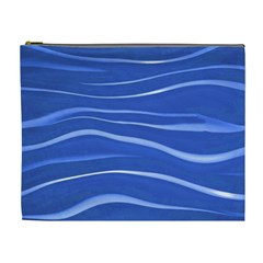 Lines Swinging Texture  Blue Background Cosmetic Bag (xl)