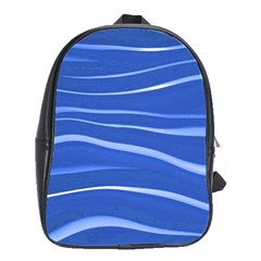 Lines Swinging Texture  Blue Background School Bags(Large)