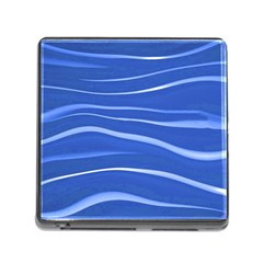 Lines Swinging Texture  Blue Background Memory Card Reader (Square)