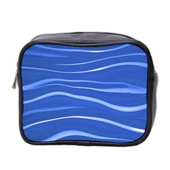 Lines Swinging Texture  Blue Background Mini Toiletries Bag 2 Side