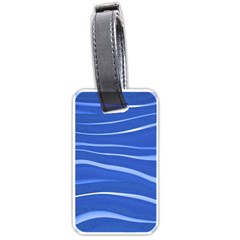 Lines Swinging Texture  Blue Background Luggage Tags (one Side)