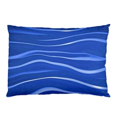 Lines Swinging Texture  Blue Background Pillow Case (two Sides)