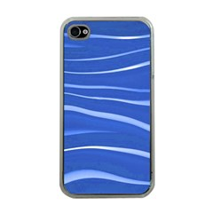 Lines Swinging Texture  Blue Background Apple iPhone 4 Case (Clear)