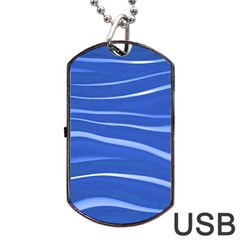 Lines Swinging Texture  Blue Background Dog Tag USB Flash (One Side)