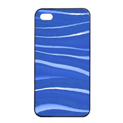 Lines Swinging Texture  Blue Background Apple Iphone 4/4s Seamless Case (black)