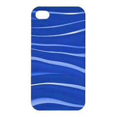 Lines Swinging Texture  Blue Background Apple Iphone 4/4s Premium Hardshell Case