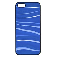 Lines Swinging Texture  Blue Background Apple Iphone 5 Seamless Case (black)